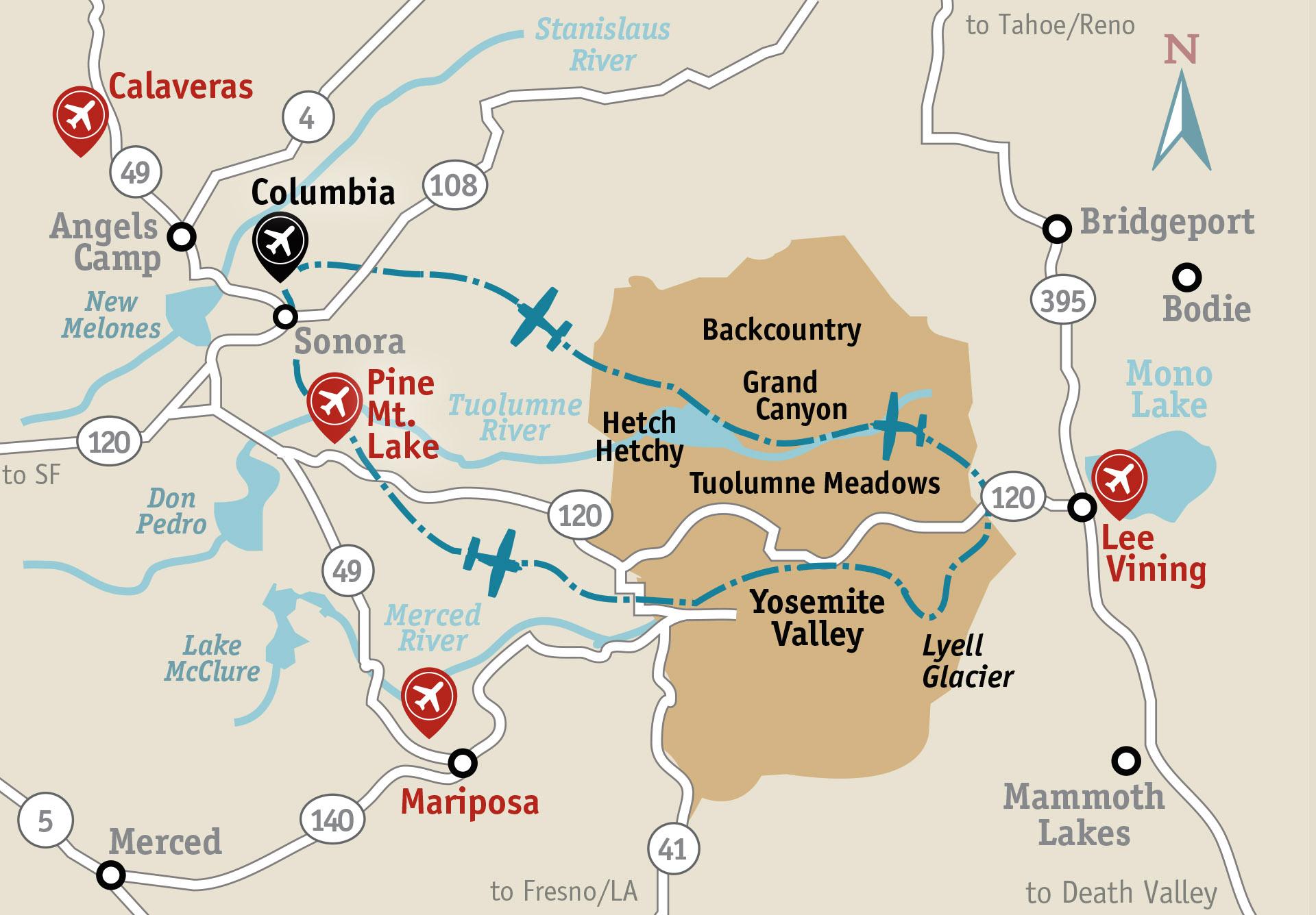 Yosemite Air Tour - Yosemite Flight Tours on map of idaho landmarks, map of mojave desert landmarks, map of united states landmarks, map of atlanta landmarks, map of grand canyon landmarks, map of hollywood landmarks,